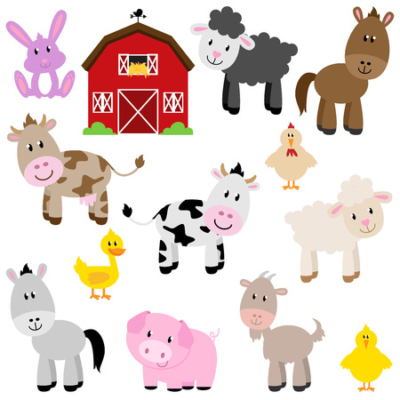 Photo pour Vector Collection of Cute Cartoon Farm Animals and Barn - image libre de droit