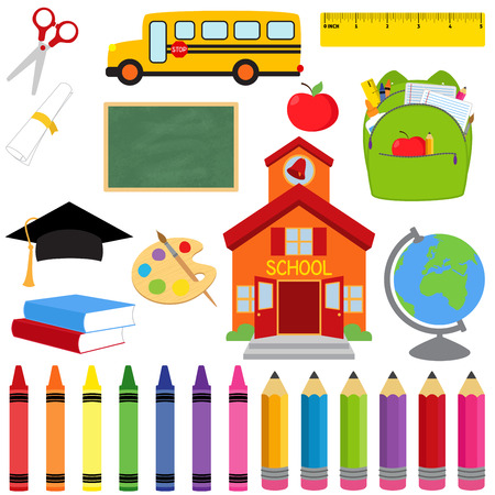 Photo for Vector Collection of School Supplies and Images - Royalty Free Image