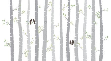 Illustration pour Vector Birch or Aspen Trees with Autumn Leaves and Love Birds - image libre de droit