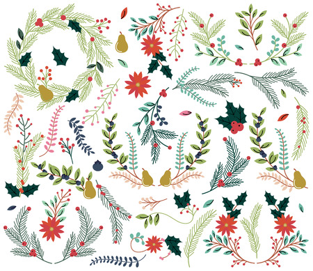 Illustration pour Vector Collection of Vintage Style Hand Drawn Christmas Holiday Florals - image libre de droit