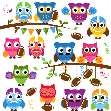 Illustration pour Vector Collection of Cute Football or Sports Themed Owls - image libre de droit