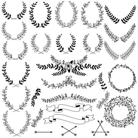 Illustration pour Vector Collection of Black Line Laurels, Floral Elements and Banners - image libre de droit