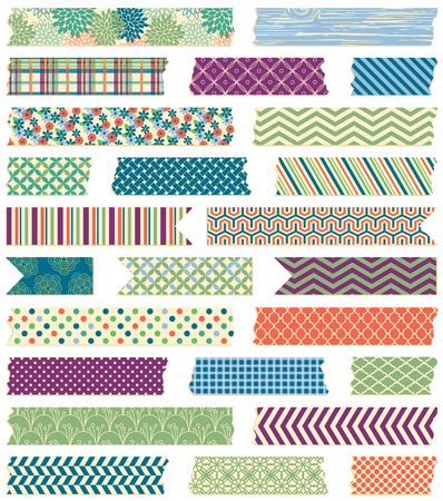 Illustration pour Vector Collection of Cute Patterned Washi Tape Strips in Masculine Colors - image libre de droit