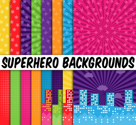 Illustration for Collection of 16 Vector Superhero Themed Backgrounds - Royalty Free Image