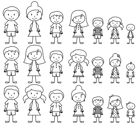 Illustration pour Set of Cute and Diverse Stick People in Vector Format - image libre de droit
