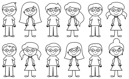 Illustration for Set of Cute and Diverse Stick People in Vector Format - Royalty Free Image