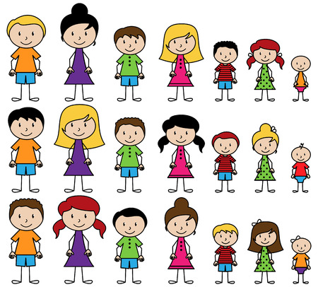 Ilustración de Set of Cute and Diverse Stick People in Vector Format - Imagen libre de derechos