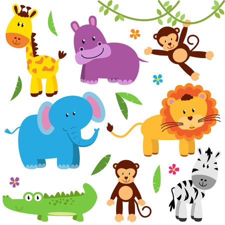 Illustration pour Cute Vector Set of Zoo Animals - image libre de droit