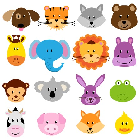 Photo pour Vector Zoo Animal Faces Set - image libre de droit