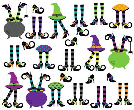 Ilustración de Cute Vector Collection of Witches` Feet, Legs and Shoes - Imagen libre de derechos