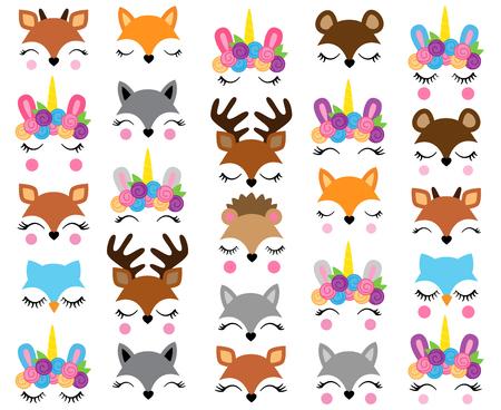 Illustration pour Mix and Match Animal Faces - Create Whimsical Animal Faces by Mix and Matching Heads, Eyes and Accessories - image libre de droit