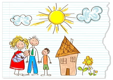 Photo pour Children drawing  happy family  on a peace of paper - image libre de droit