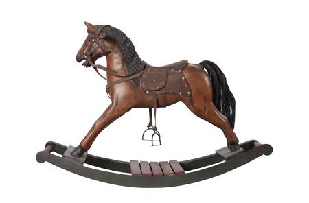 Foto de vintage rocking horse isolated on white  - Imagen libre de derechos