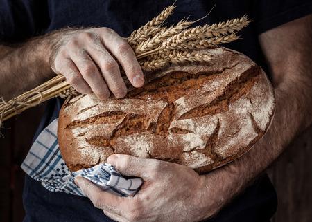 Foto de Baker man holding rustic organic loaf of bread and wheat in hands - rural bakery. Natural light, moody still life. - Imagen libre de derechos