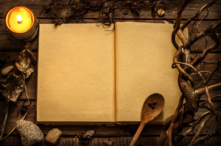 Photo for Old blank open witchcraft or magic recipes book with candle and alchemy ingredients around. Dark mysterious rustic background with text space. - Royalty Free Image