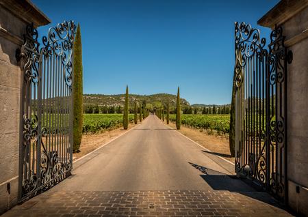 Photo pour Property entrance gate, driveway, vineyards, cypresses and hills. Summer South Europe countryside landscape. - image libre de droit