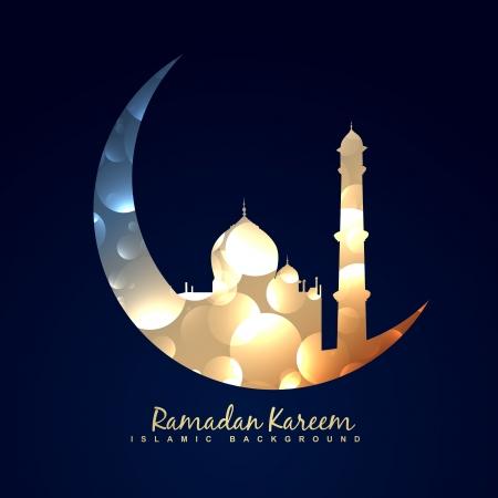 Illustration pour vector illustration of moon with mosque - image libre de droit