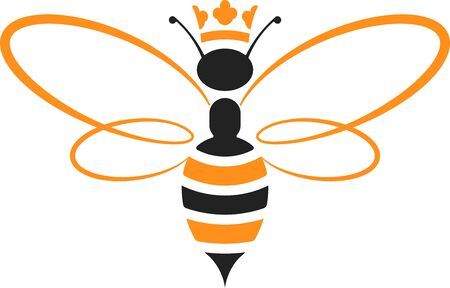 Illustration for Queen bee icon with crown in yellow and black. Isolated and geometric. - Royalty Free Image