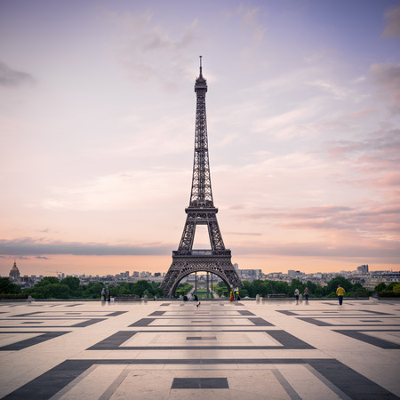 Photo for Trocadero and Eiffel Tower at sunshine  Paris, France  - Royalty Free Image