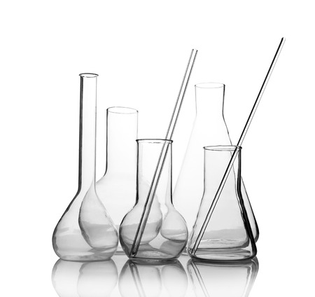 Foto de empty laboratory glassware with reflection isolated on white background - Imagen libre de derechos
