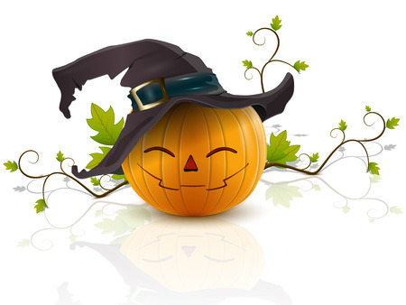 funny pumpkin with a hat on his head celebrates Halloween