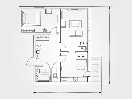 Illustration pour the architectural plan. the layout of the apartment with the furniture in the drawing view - image libre de droit