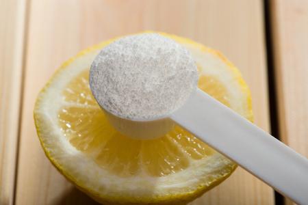 Photo pour Sports supplement, creatine, hmb, bcaa, amino acid or vitamin mesure with powder. Sport nutrition concept. - image libre de droit