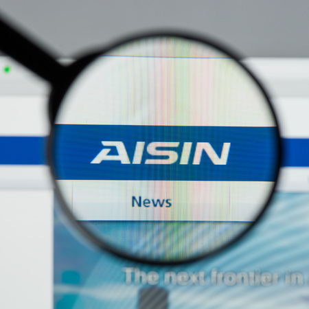 Photo pour Milan, Italy - August 10, 2017: Aisin Seiki  website. It is a Japanese corporation which develops and produces components and systems for the automotive industry. Aisin Seiki logo. - image libre de droit