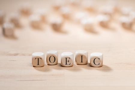Foto de Toeic word on wooden cubes. Toeic concept - Imagen libre de derechos