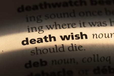 Photo pour death wish word in a dictionary. death wish concept - image libre de droit