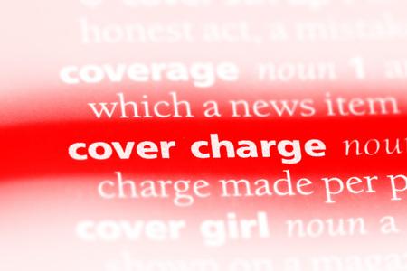 Foto de cover charge word in a dictionary. cover charge concept - Imagen libre de derechos