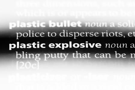 Photo pour plastic explosive word in a dictionary. plastic explosive concept. - image libre de droit