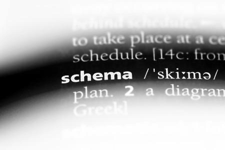 Foto de schema word in a dictionary. schema concept. - Imagen libre de derechos