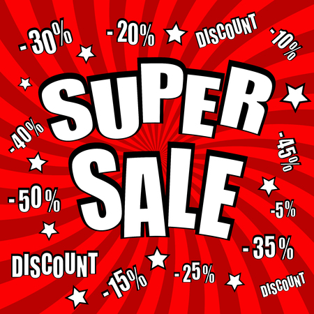 Super sale comic poster with different percent discount and stars on red funny spiral background. Pop art style