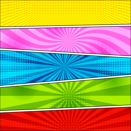 Illustration pour Comic book background with halftone and radial effects in yellow pink blue green red colors in pop-art style. Blank template. Vector illustration - image libre de droit
