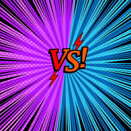 Illustration pour Comic versus fighting background with two opposite purple and blue sides, arrows, halftone rays and radial effects. Vector illustration - image libre de droit