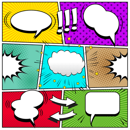 Ilustración de Comic book page background with white speech bubbles arrows exclamation points sound halftone rays dotted and radial effects in pop-art style. Vector illustration. - Imagen libre de derechos