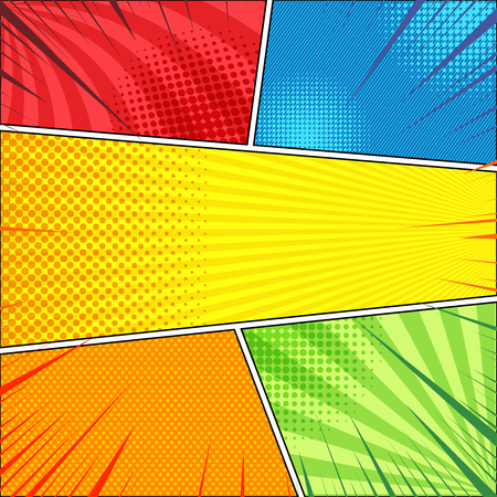 Illustration for Comic page concept with halftone radial rays slanted lines effects in red blue yellow orange green colors. Vector illustration - Royalty Free Image