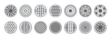 Illustration for Sewer manhole caps icons monochrome set - Royalty Free Image