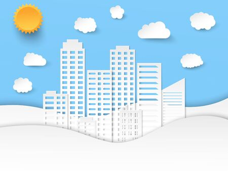 Illustration for Elegant paper art composition with city waves clouds and sun in origami style. Vector illustration - Royalty Free Image