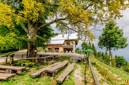 Photo for Mirna Gora, Bela Krajina, Slovenia - August  21, 2017: Mountain shelter on Mirna Gora mount. - Royalty Free Image