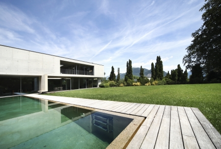 modern house and pool, exterior