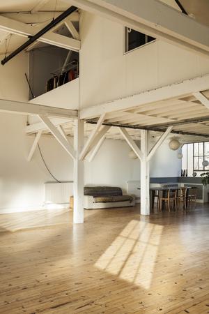 interior old loft, beams and wooden floor