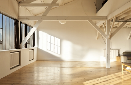 Photo for wide open space, beams and wooden floor - Royalty Free Image