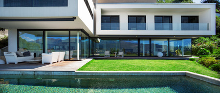Photo for Modern house with pool in exterior - Royalty Free Image
