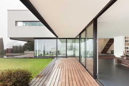 Foto de Architecture, beautiful interior of a modern villa, view from veranda - Imagen libre de derechos