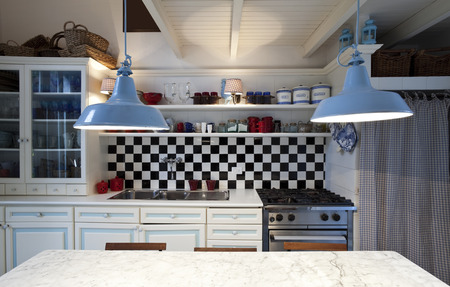 Photo for chessboard tile, kitchen interior - Royalty Free Image
