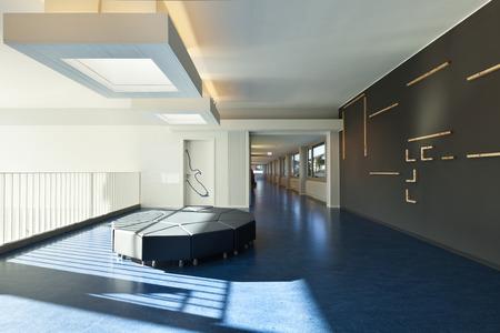 Foto de modern public school, corridor blue floor - Imagen libre de derechos
