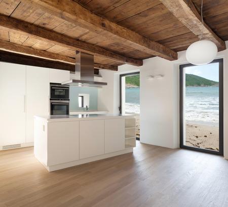 Foto de beautiful  loft, view domestic kitchen, modern furniture - Imagen libre de derechos