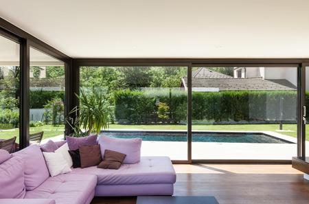 Photo pour Modern villa, interior, wide living room with divan - image libre de droit
